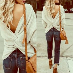 Ivory/Cream knot twist sweater ❄️